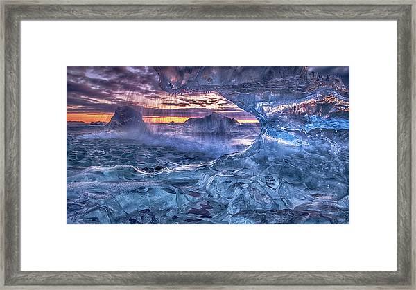 Melting Blue Crystal Framed Print by Peter Svoboda, Mqep
