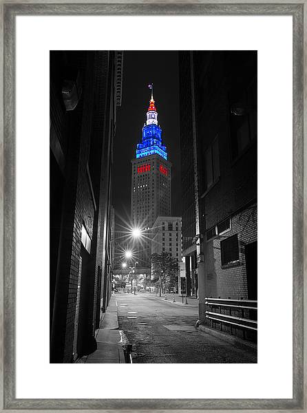 Memorial Day Terminal Tower In Cleveland Framed Print