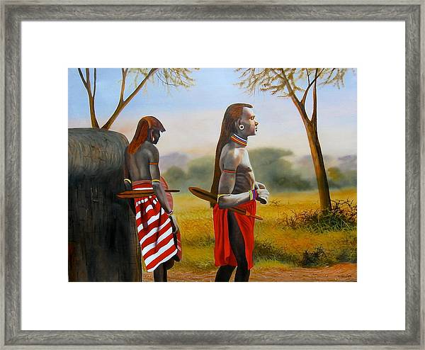 Men Of The Maasai Framed Print