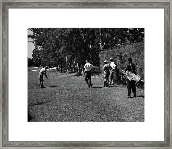 Men Playing Golf At The Jupiter Island Club Framed Print by Serge Balkin