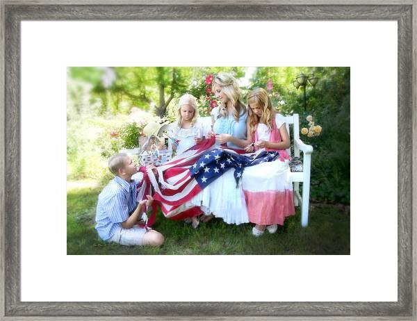 Mending Liberty Framed Print