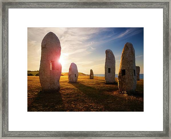 Menhires Sunset Framed Print