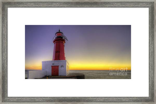 Menominee Lighthouse At Sunrise Framed Print by Twenty Two North Photography