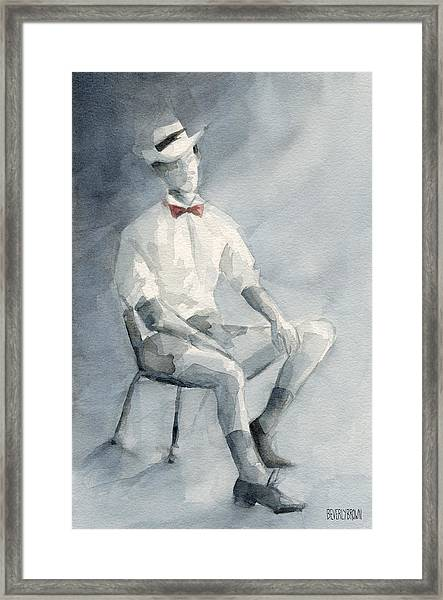 Mens Fashion Illustration Art Print Hat And Bowtie Framed Print by Beverly Brown
