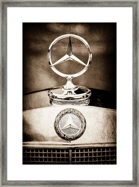 Mercedes-benz Hood Ornament - Emblem Framed Print