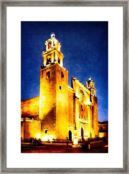 Merida Cathedral Glowing At Night Framed Print by Mark Tisdale
