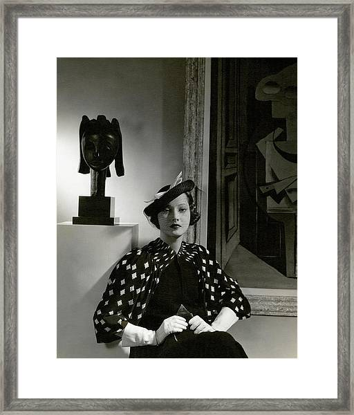Merle Oberon Wearing A Printed Dress Framed Print