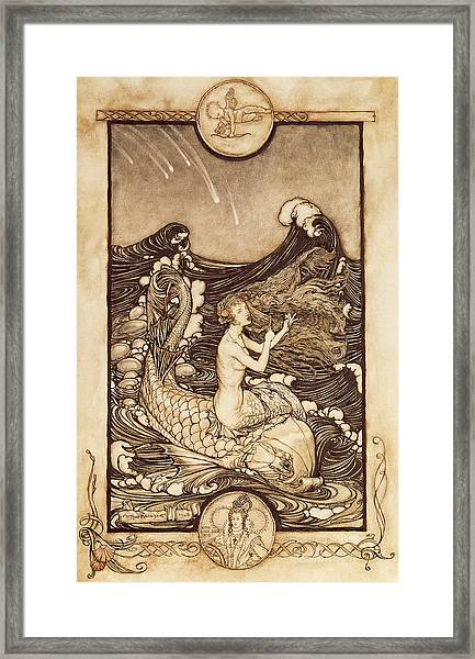Mermaid And Dolphin From A Midsummer Nights Dream Framed Print