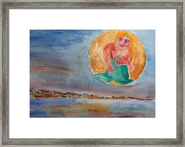 Mermaid In The Moon Framed Print