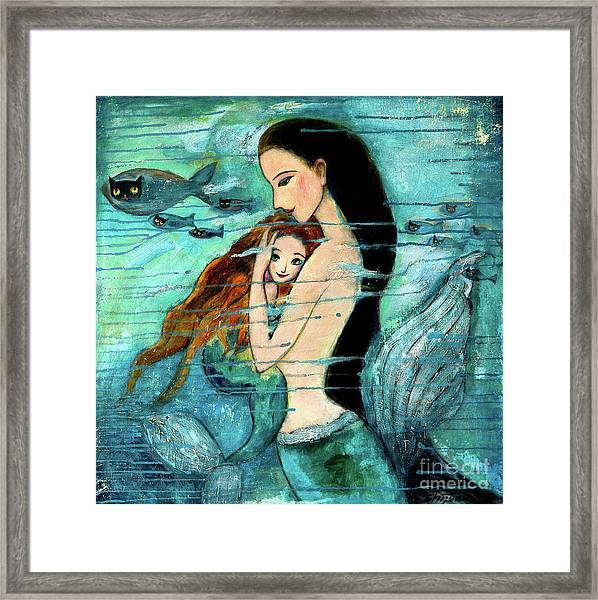 Mermaid Mother And Child Framed Print