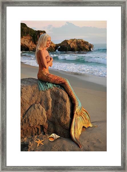 Mermaid Sitting On Rock Framed Print
