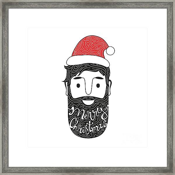 Merry Christmas Hand Drawn Style Framed Print