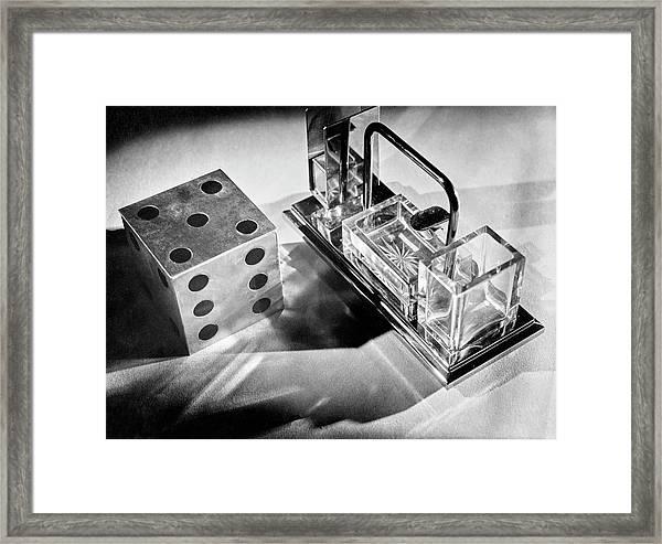 Metal Die And Crystal Smoking Set Framed Print