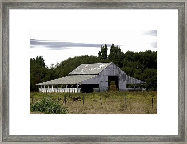 Metal Hay Barn Framed Print
