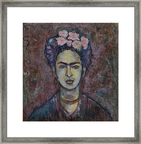 Framed Print featuring the painting Metamorphosis Frida by Laurie Maves ART