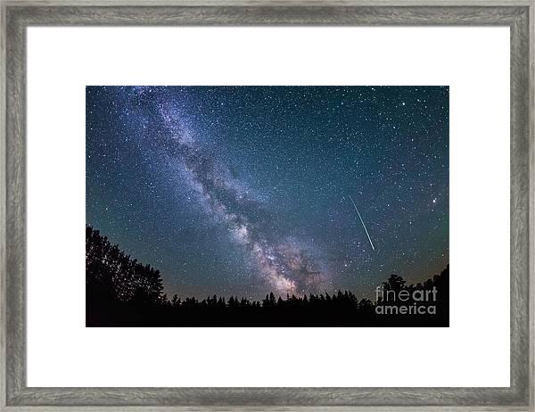 Meteor Milky Way  Framed Print