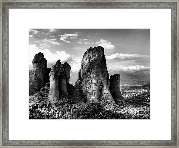 Meteora Greece Strange Rock Formation Framed Print