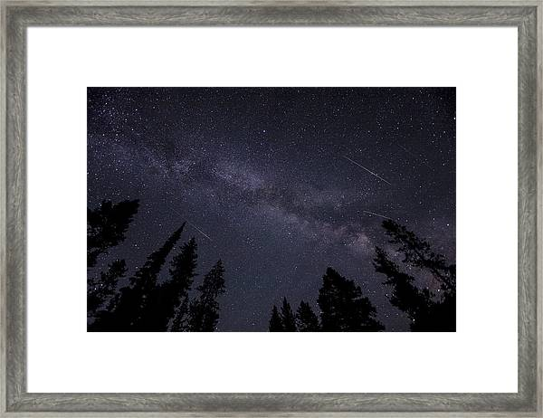 Meteors And The Milky Way Framed Print