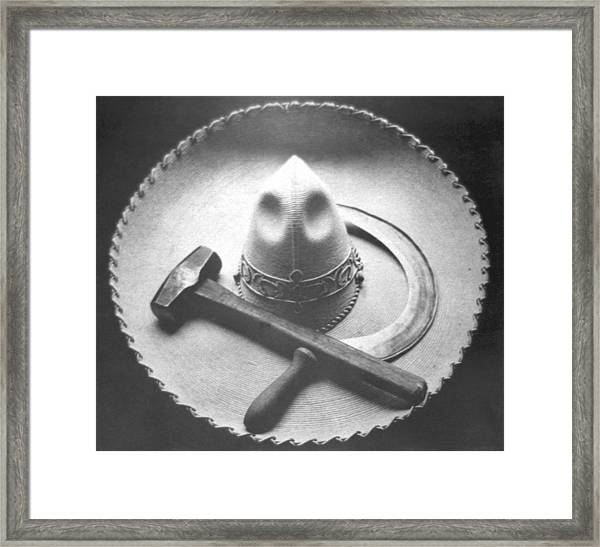 Mexican Revolution Sombrero With Hammer Framed Print