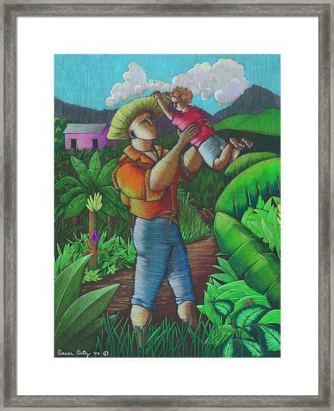 Framed Print featuring the painting Mi Futuro Y Mi Tierra by Oscar Ortiz