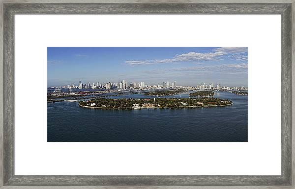 Miami And Star Island Skyline Framed Print