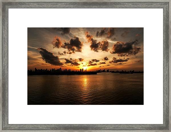 Miami Skyline Sunset Framed Print