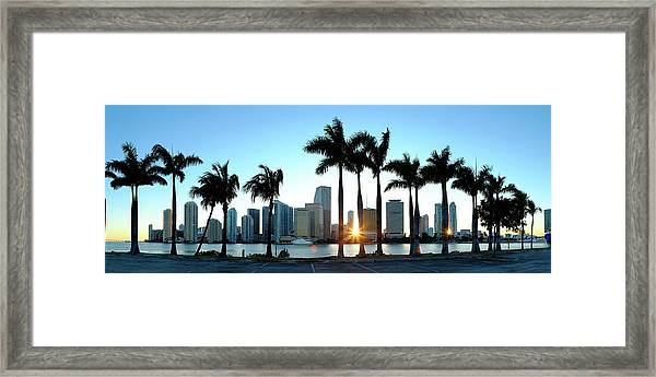 Miami Skyline Viewed Over Marina Framed Print by Travelpix Ltd
