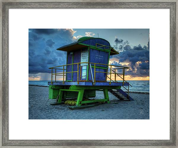 Framed Print featuring the photograph Miami - South Beach Lifeguard Stand 003 by Lance Vaughn