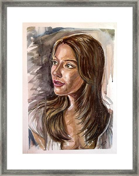 Framed Print featuring the painting Michelle by Katerina Kovatcheva