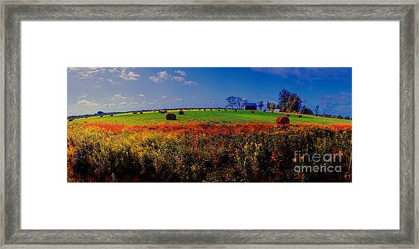 Michigan Uper  Farm Barn And Rolls Of Hay Brimly Michigan Framed Print