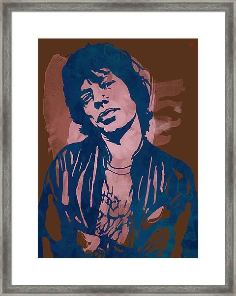 Mick Jagger - Pop Stylised Art Sketch Poster Framed Print