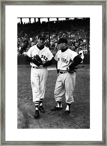 Mickey Mantle With Ted Williams Framed Print by Retro Images Archive