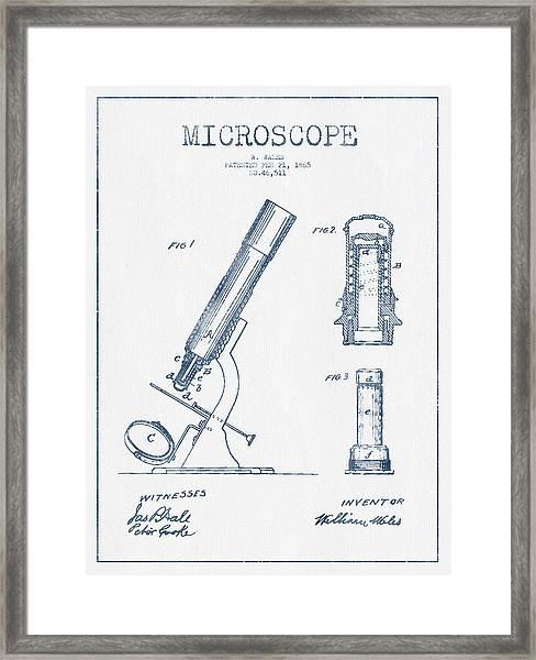 Microscope Patent Drawing From 1865 - Blue Ink Framed Print by Aged Pixel