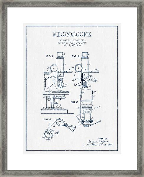 Microscope Patent Drawing From 1919 - Blue Ink Framed Print by Aged Pixel