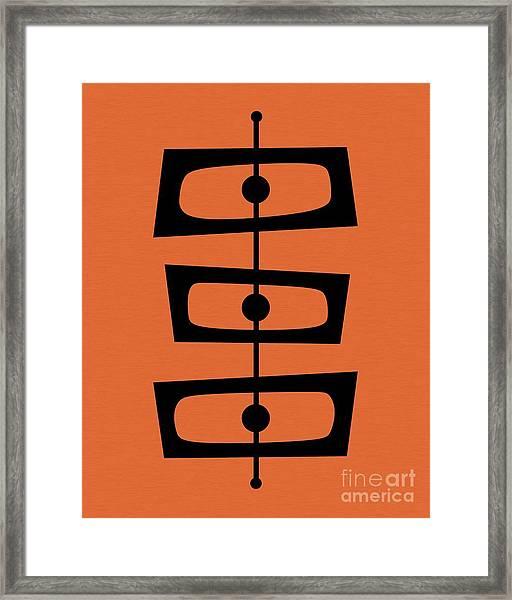 Mid Century Shapes On Orange Framed Print