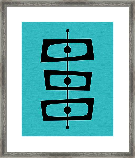 Mid Century Shapes On Turquoise Framed Print