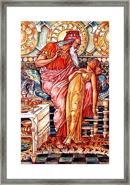 Midas Turns His Daughter To Gold Framed Print