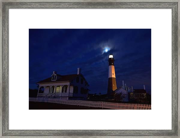 Midnight Moon Over Tybee Island Framed Print