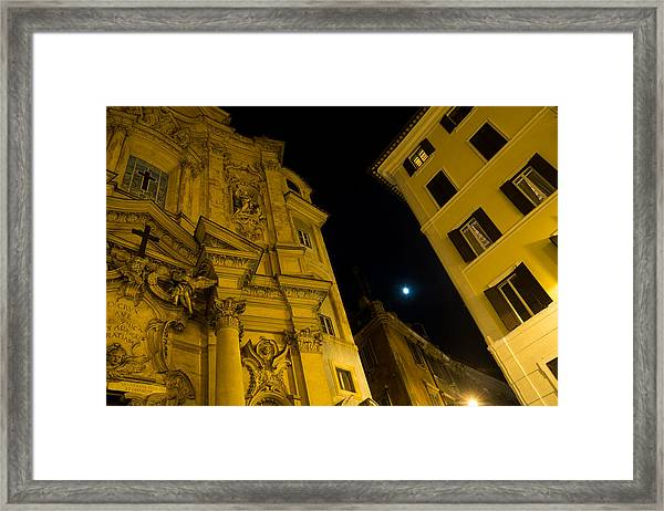 Midnight Roman Facades In Yellow  Framed Print