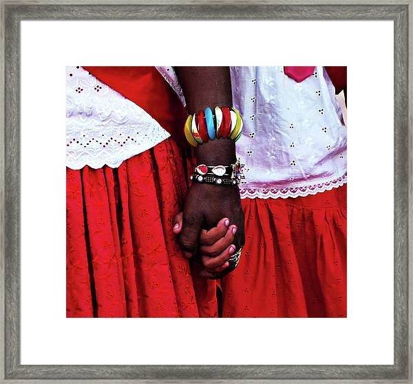 Midsection Of Couple Wearing Red Framed Print