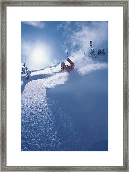 Mike Carving Fresh Snow In Big Framed Print