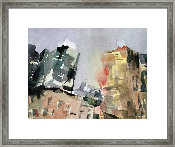 Milford Plaza 8th Avenue Watercolor Painting Of New York Framed Print by Beverly Brown