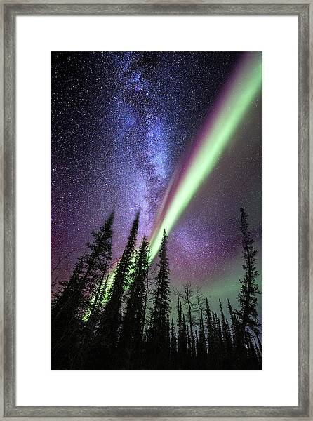Milky Way And The Aurora Borealis Framed Print