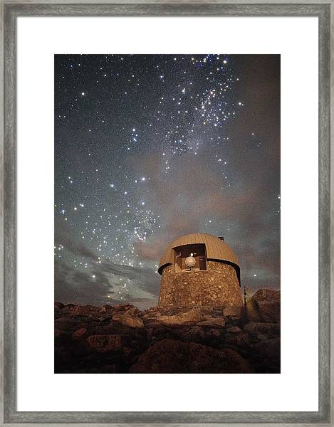 Milky Way Clouds Over The Mount Evans Observatory Framed Print by Mike Berenson