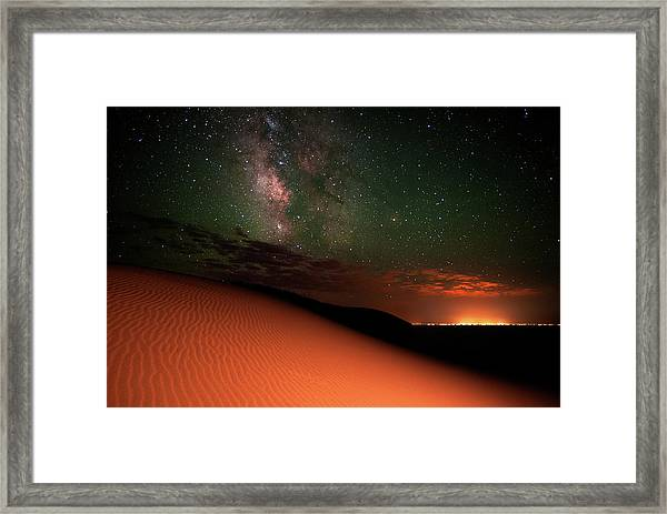 Milky Way Gold From Sand Dunes Colorado Framed Print by Mike Berenson / Colorado Captures