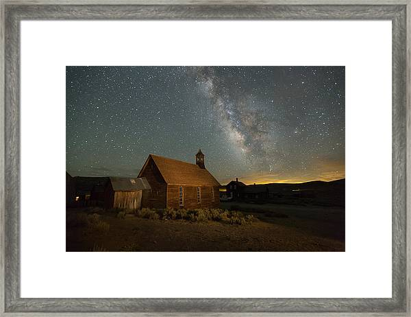 Milky Way Over Bodie Church Framed Print