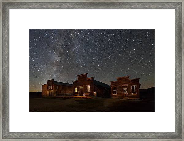 Milky Way Over Downtown Bodie Framed Print
