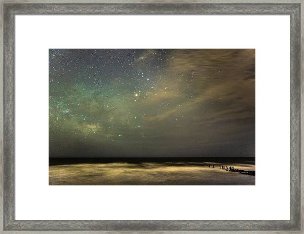 Milky Way Over Folly Beach Framed Print