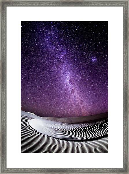 Milky Way Over Sand Dunes Framed Print by John White Photos