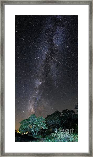 Milky Way Vertical Panorama At Enchanted Rock State Natural Area - Texas Hill Country Framed Print